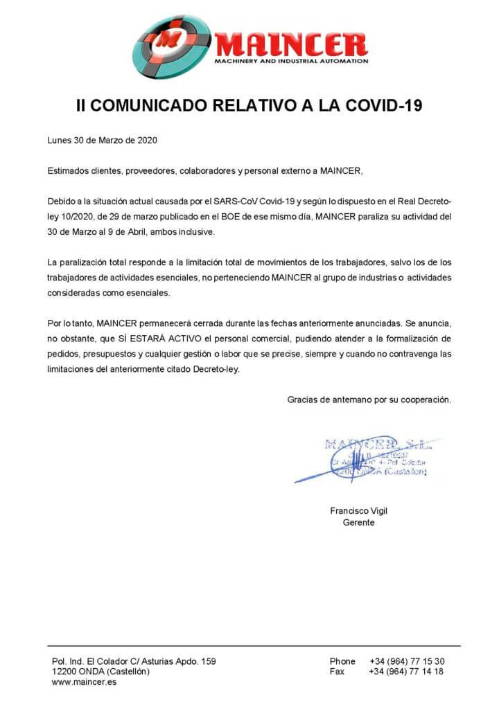 MAINCER II COMUNICADO RELATIVO A LA COVID Página 1 720x1024